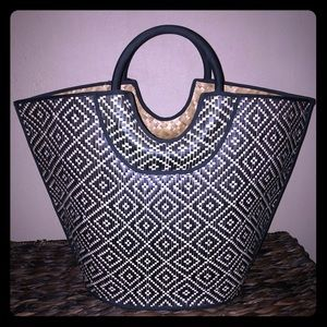 Black & White woven Beach Tote
